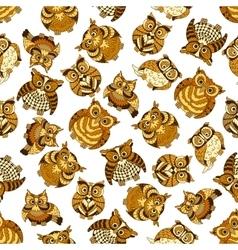 Owl birds seamless pattern background vector image