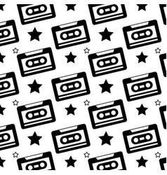 seamless pattern retro cassette tape recorder vector image