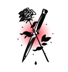 a tattoo featuring a knife and a rose tattoo in vector image