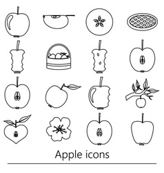 apple theme black simple outline icons set eps10 vector image