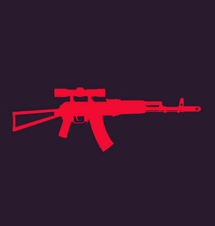 assault rifle automatic gun with optical sight vector image