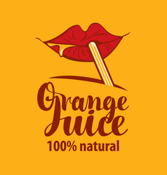 Banner for orange juice with lips and straw vector