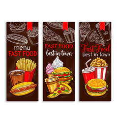 Banners for fast food restaurant menu vector