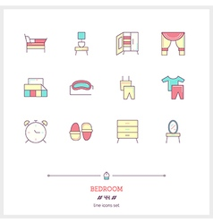 BedROOM Line Icons Set vector
