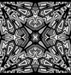black and white abstract kaleidoscope background vector image