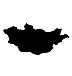 Black silhouette country borders map of mongolia vector