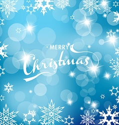 Blue Christmas background with snowflakes and vector