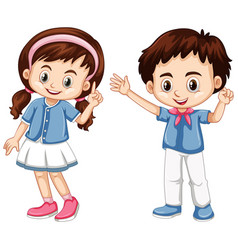 Boy and girl with happy face vector