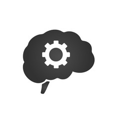 brain with gear icon isolated isolated on a white vector image