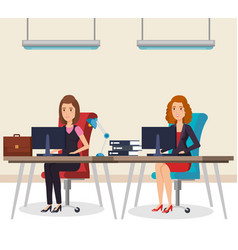 Business people in the office isometric avatars vector