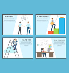 Business set of posters depicting diligent workers vector