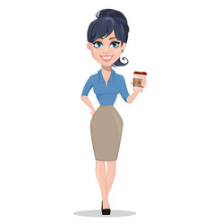 business woman holding cup of cofee vector image