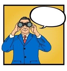Businessman looking through binoculars vector image