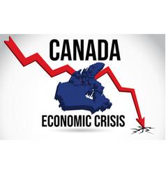 Canada map financial crisis economic collapse vector