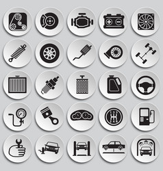 Car parts and repair set on plates background for vector