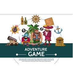 Cartoon adventure game ui elements composition vector