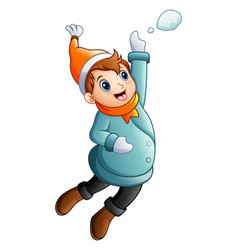 Cartoon boy in winter clothes jumping vector