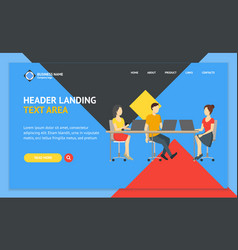cartoon coworking place landing web page template vector image
