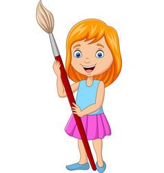 cartoon little girl holding big paintbrush vector image