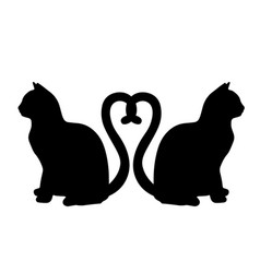 Cats in love with heart shaped tails icon vector