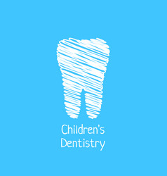 Children dentistry with scribble tooth vector
