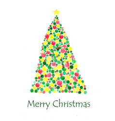christmas tree watercolor hand painting vector image