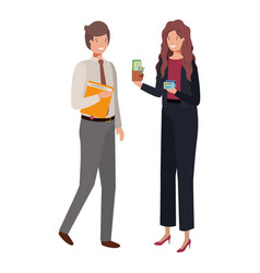 Couple with wallet and book diary avatar vector