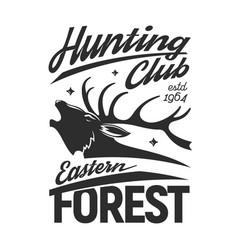 Deer animal head tshirt print hunter club clothes vector