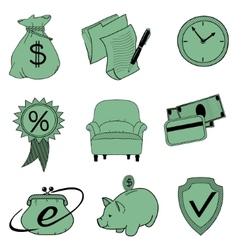 Doodle banking icons vector