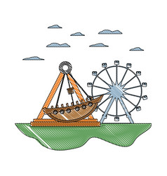 Doodle mechanical ship ride and ferris wheel games vector