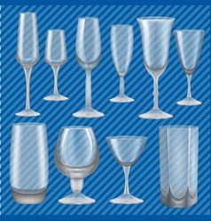 Drinking glass mockup set realistic style vector