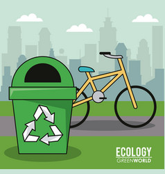 Ecology green world bicycle recycle trash can vector