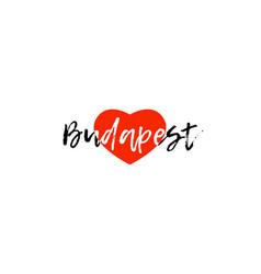 european capital city budapest love heart text vector image