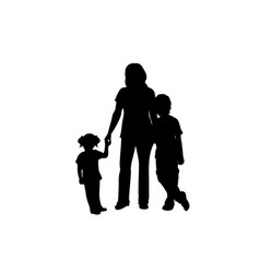 family silhouettes mom with son and daughter vector image