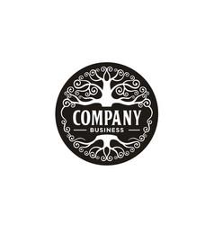 Family tree life emblem label logo design vector