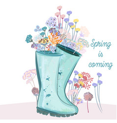 fashion spring with blue rubber boots and flowers vector image