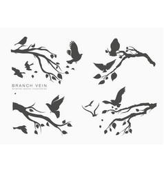 Figure set flock flying birds on tree branch vector