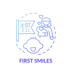First smiles blue gradient concept icon vector