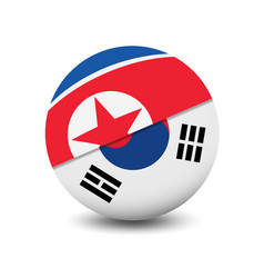 flag of north korea and south korea circle shape vector image