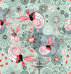 Flower texture with birds in love vector image