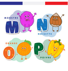 french alphabet monster hazelnuts orange vector image