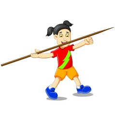 Funny girl cartoon playing javelin vector