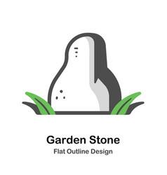 garden decoration stone outline flat vector image