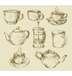 hand drawn kitchen set vector image