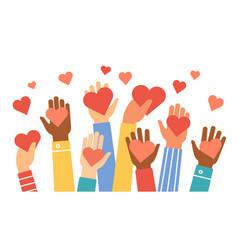 Hands donate hearts charity volunteer vector