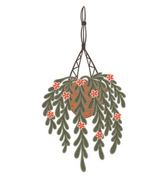 Hanging houseplant in pot and net decor for home vector