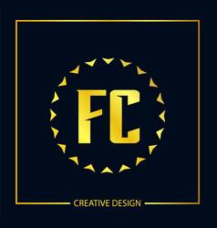 initial fc letter logo template design vector image
