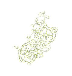 isolated floral branch element for coloring book vector image