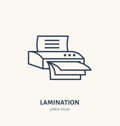 laminator flat line icon office laminating vector image