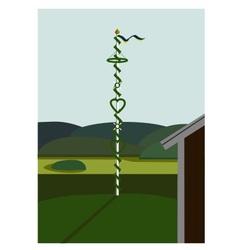 Landscape with midsummer pole in sweden vector